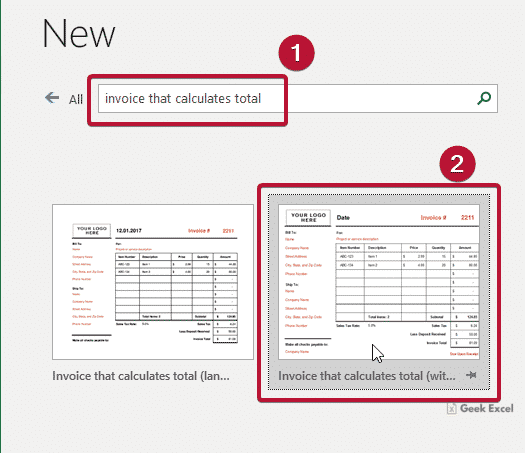 Invoice Template That Calculates Total In Excel Office 365