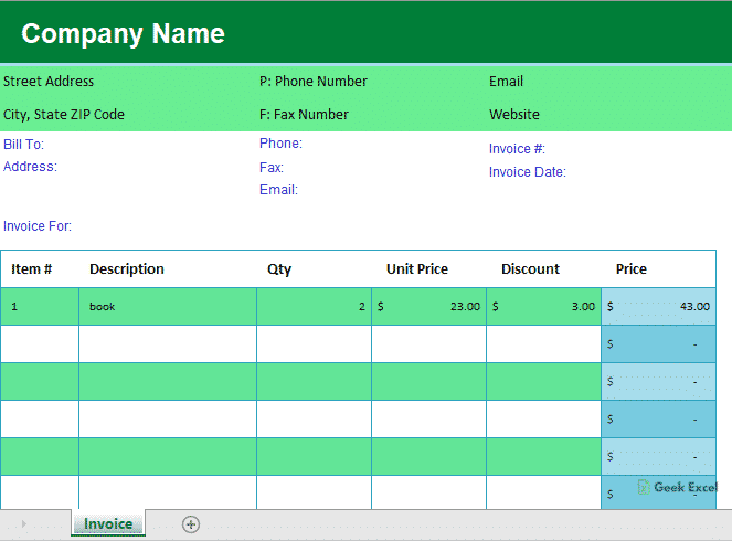 Simple Invoice Template In Ms Excel With Example