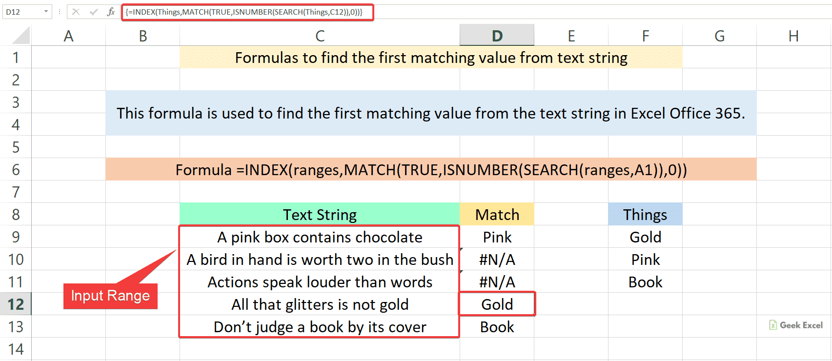 Excel Formulas to Get the First Matching Value from the Text String