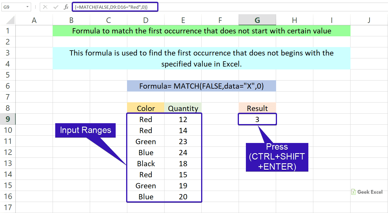 Excel Formulas to Match Occurrence Does not begin with Specific ...