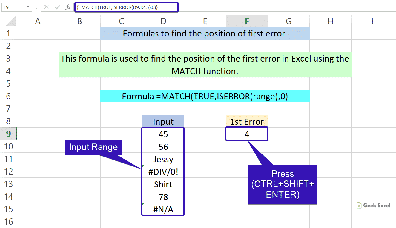 Excel Formulas to Find the First Error Using MATCH function