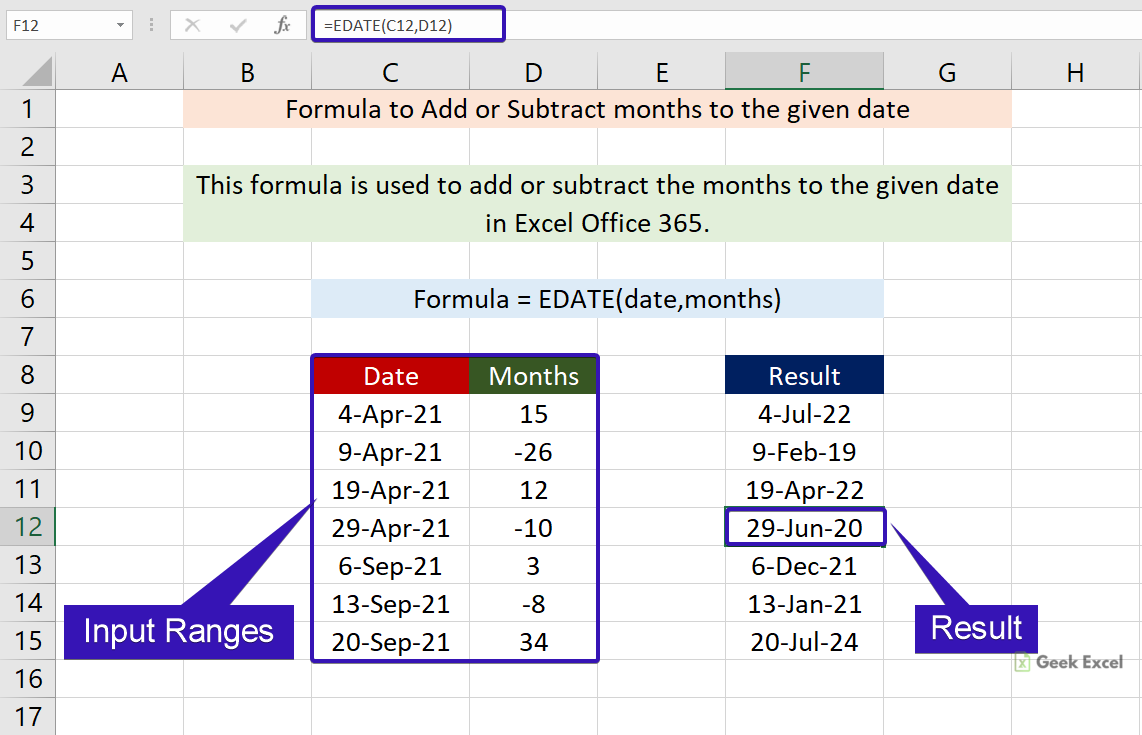 Excel Formulas to Add or Subtract the Month to the Given Date