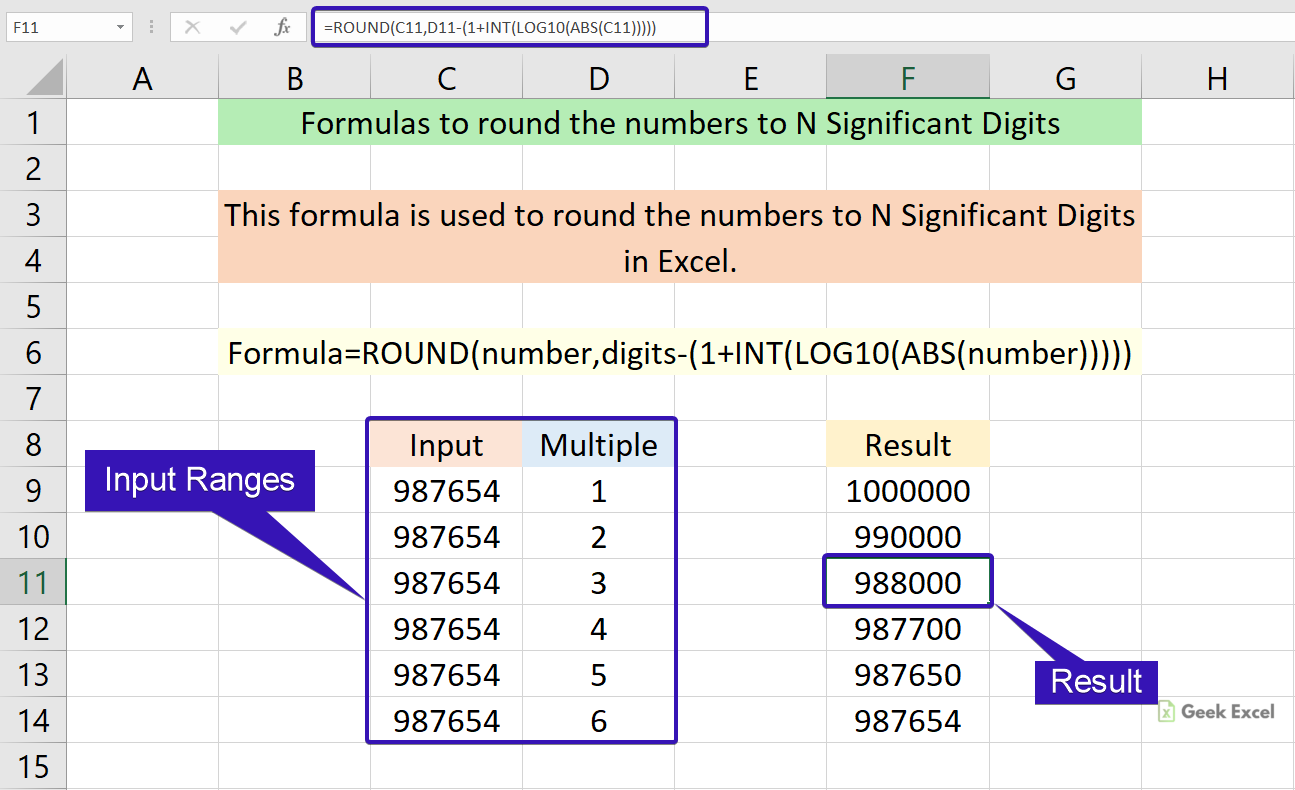 Excel Formulas to Round a Number to N Significant Digits