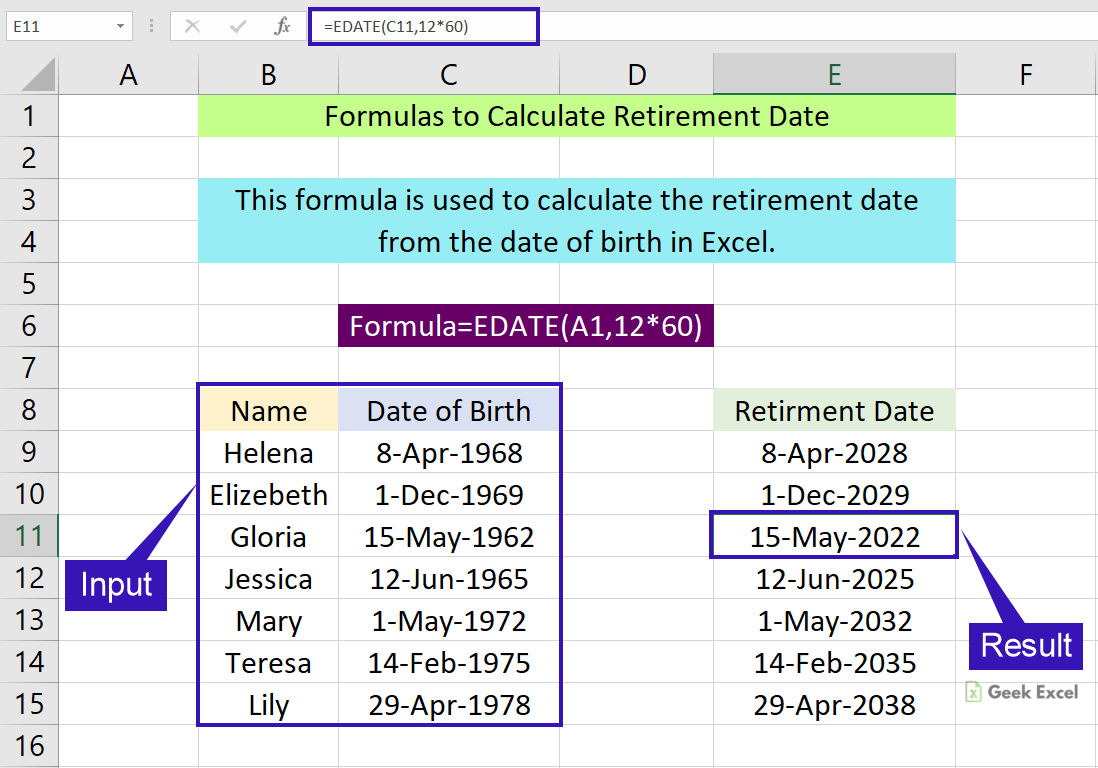 Excel Formulas to Calculate Retirement Date ~ Easy Steps