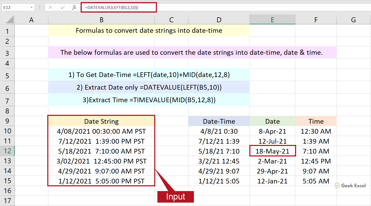 Excel Formulas to Convert Date String into Date time ~ Easy Tricks