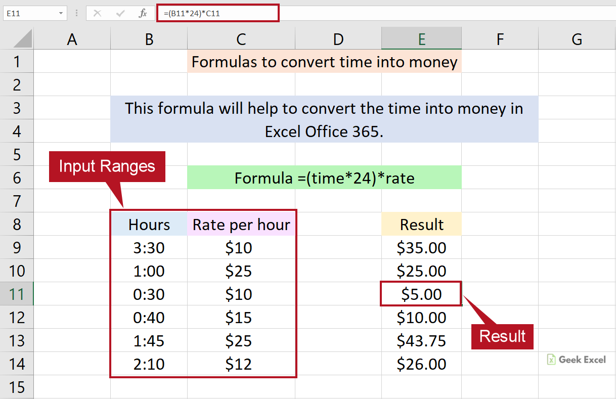 Excel Formulas to Convert the Time into Money ~ Useful Tricks