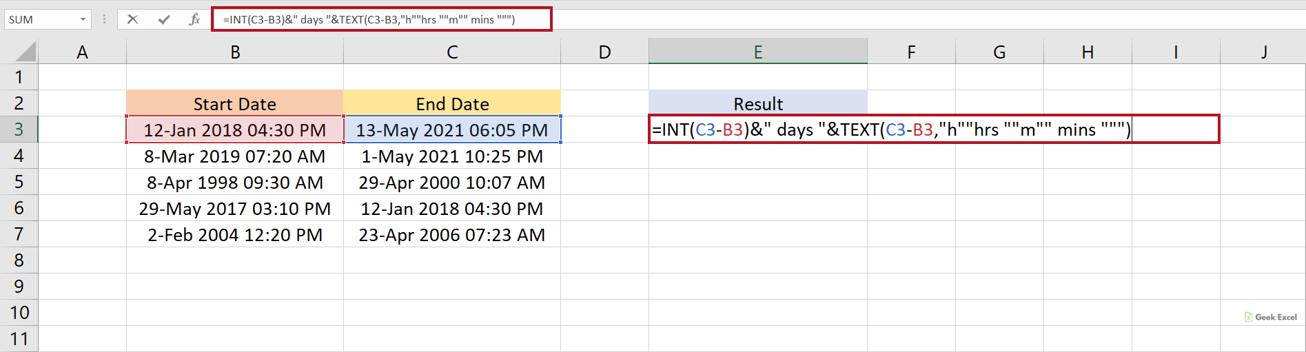 Excel Formulas to Calculate Days, Hours & Minutes between Two Dates