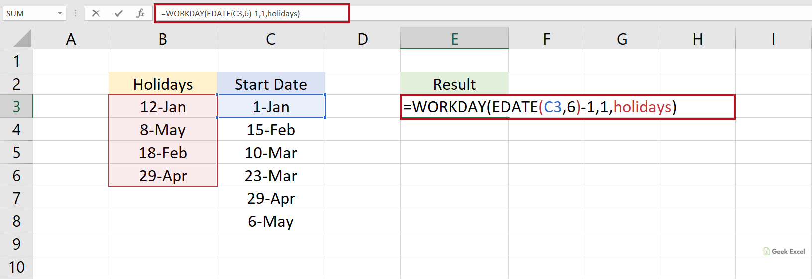Excel Formulas to Find the Next Business Day 20 Months in Future