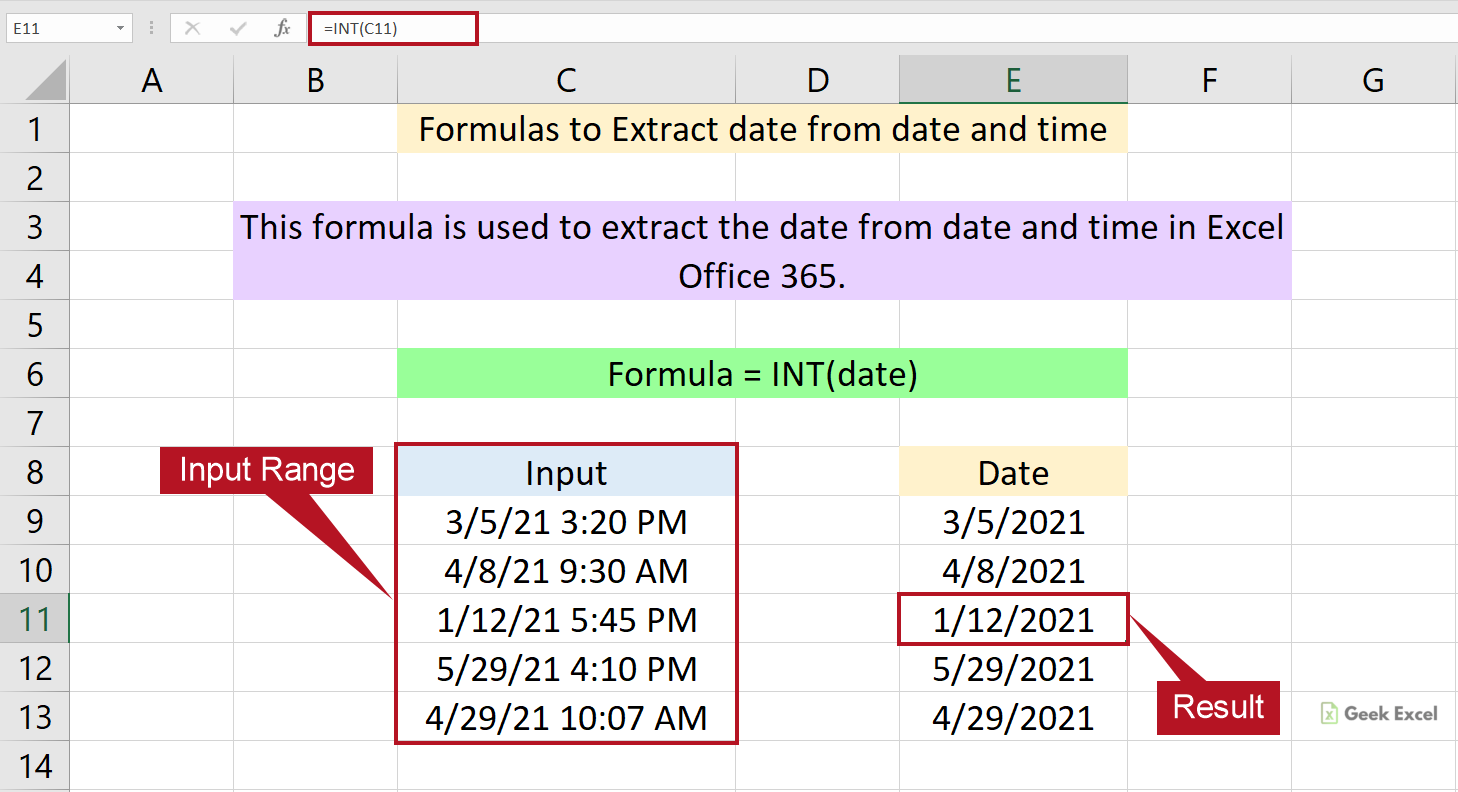 Excel Formulas to Extract the Date from Date and Time ~ Easy Tips