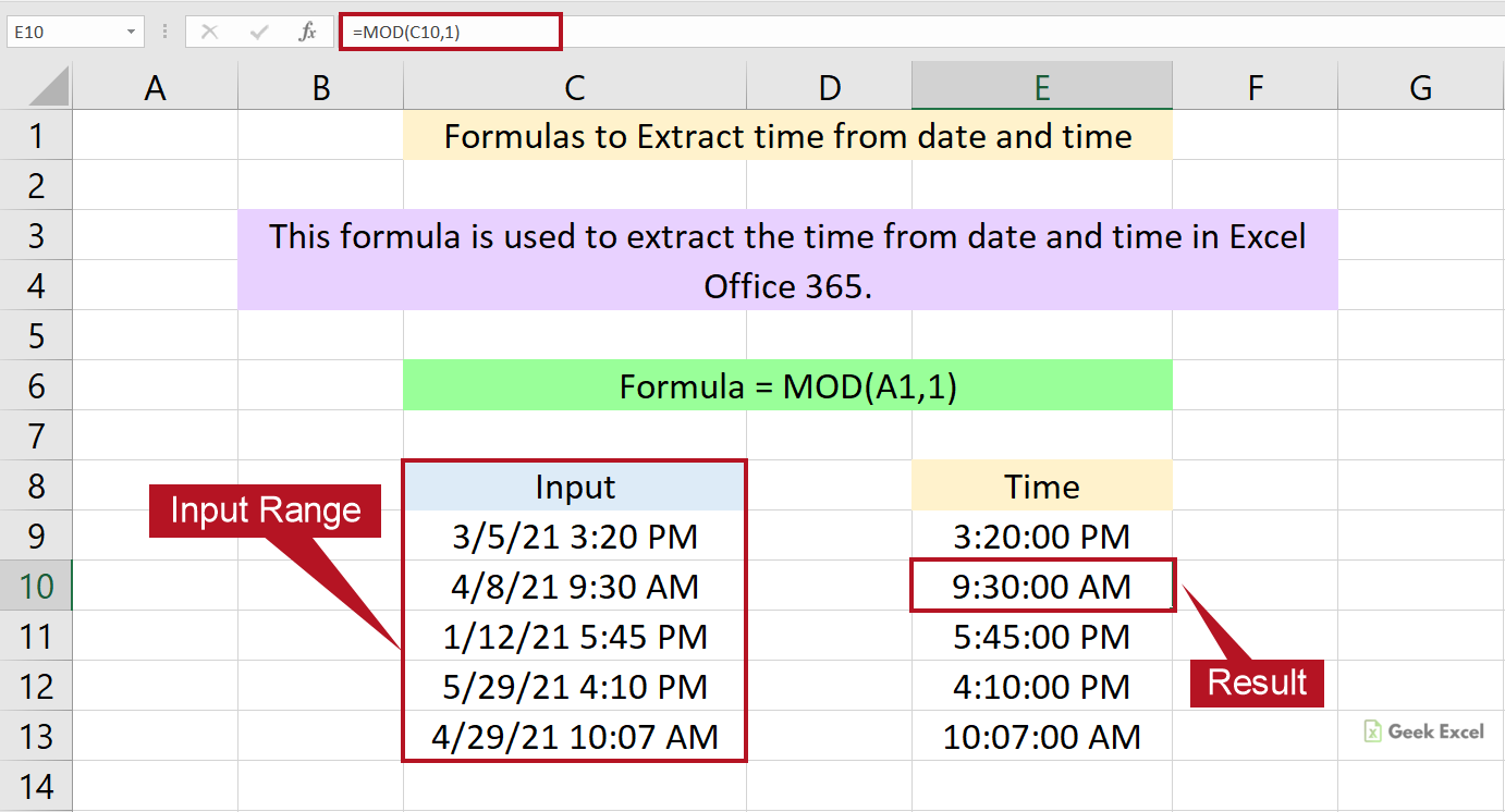 Excel Formulas to Extract the Time from Date and Time ~ Quick Method