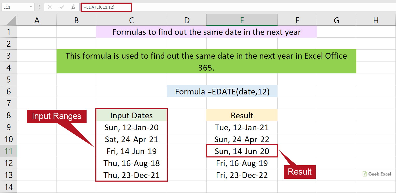 Excel Formulas to Find the Same Date in Next Year ~ Simple Guide