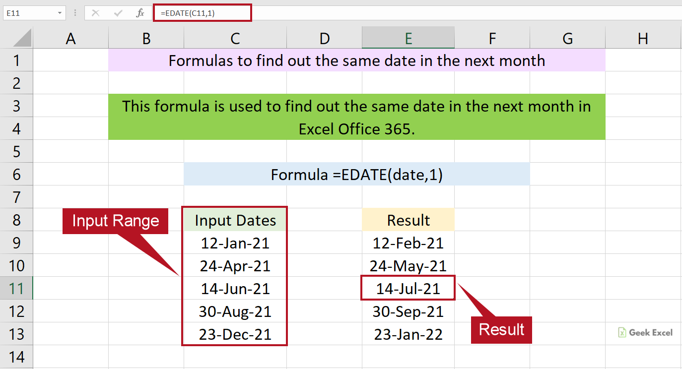 Excel Formulas to Find the Same Date in a Next Month