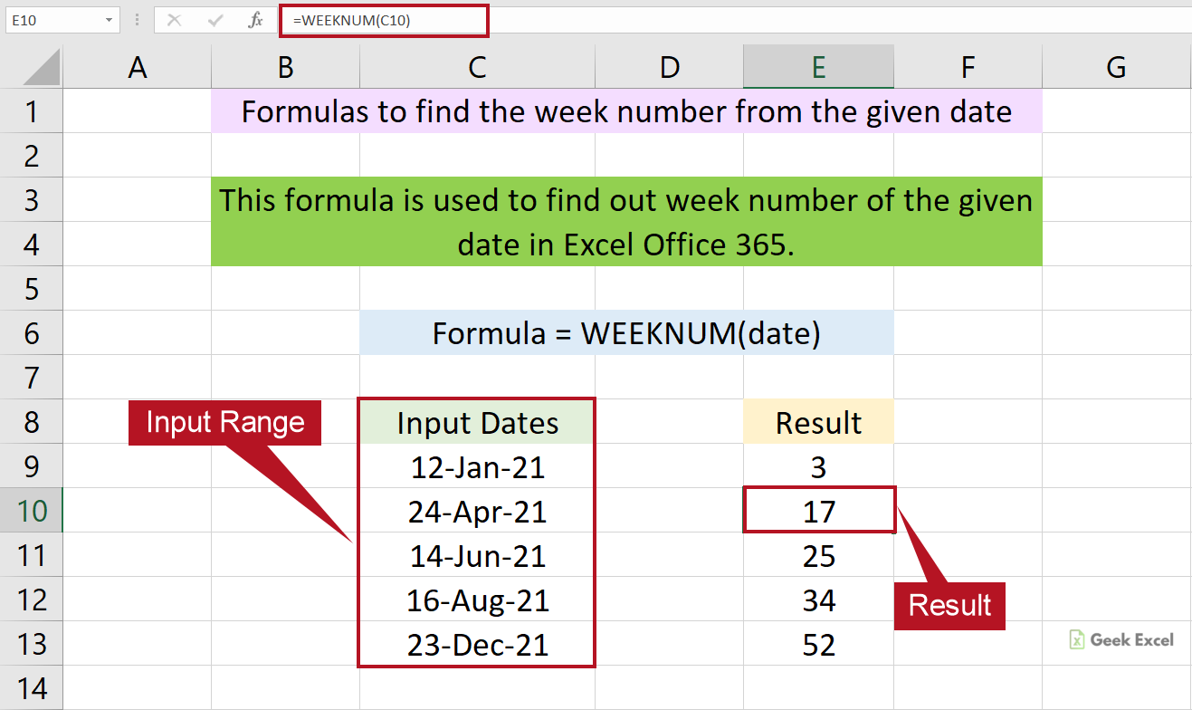 Excel Formulas to Calculate the Week Number of the Given Date
