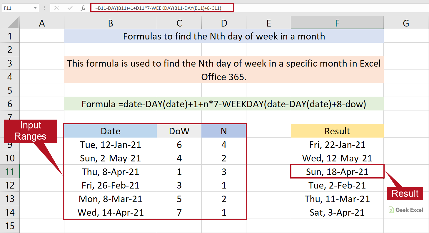 Excel Formulas to Find a Nth Day of Week in a Month ~ East Tricks