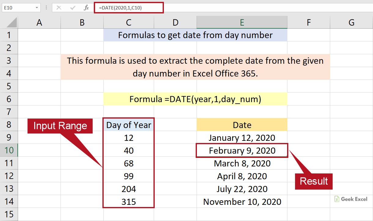 Excel Formulas to Find the Date from Given Day Number ~ Quick Tips