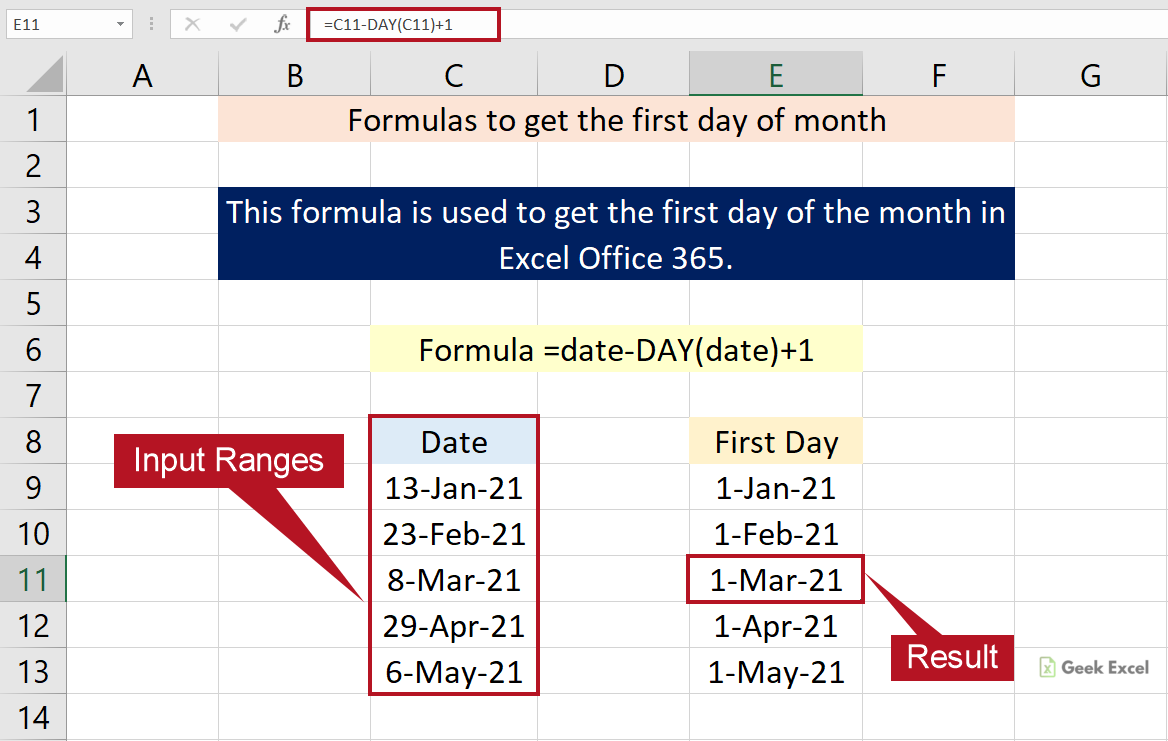 Excel Formulas to Get the First Day of Month ~ A Complete Guide