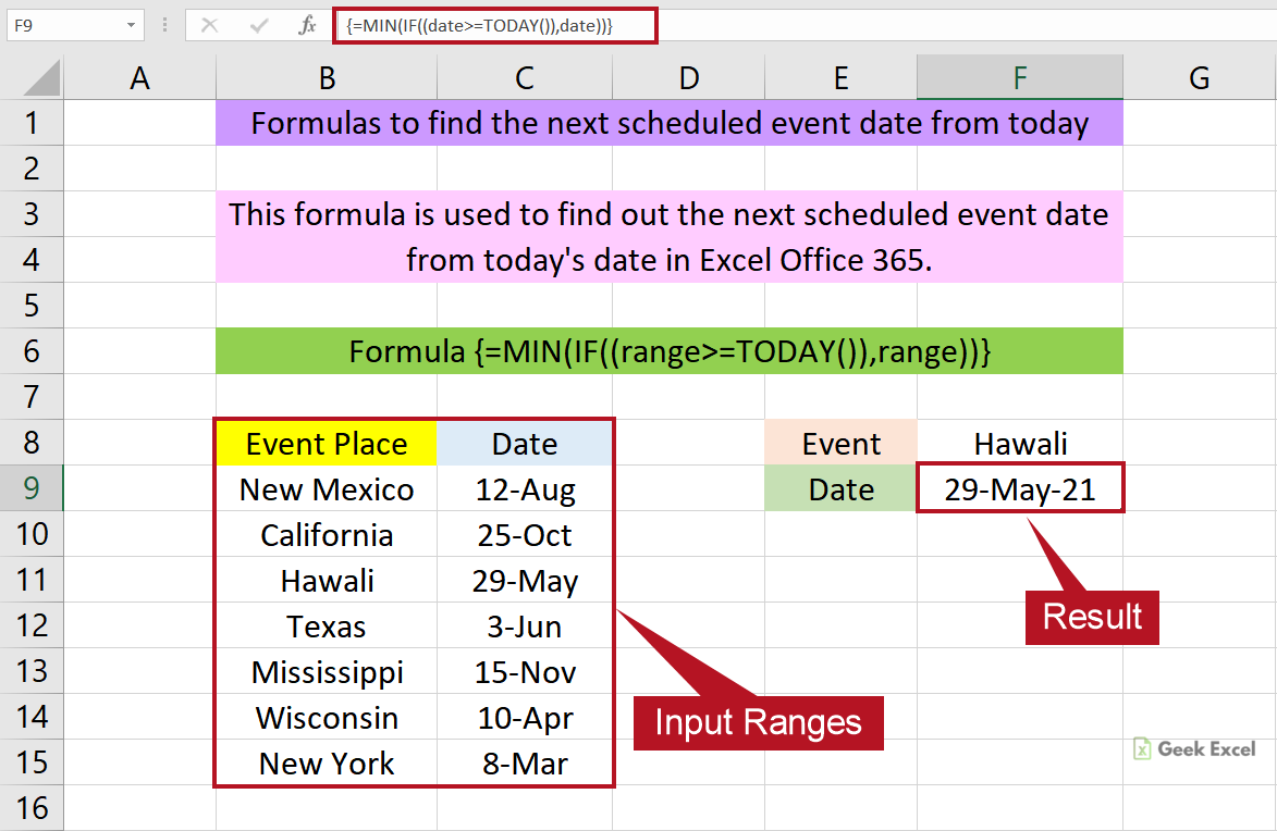 Excel Formulas to Find the Next Scheduled Event Date from Today