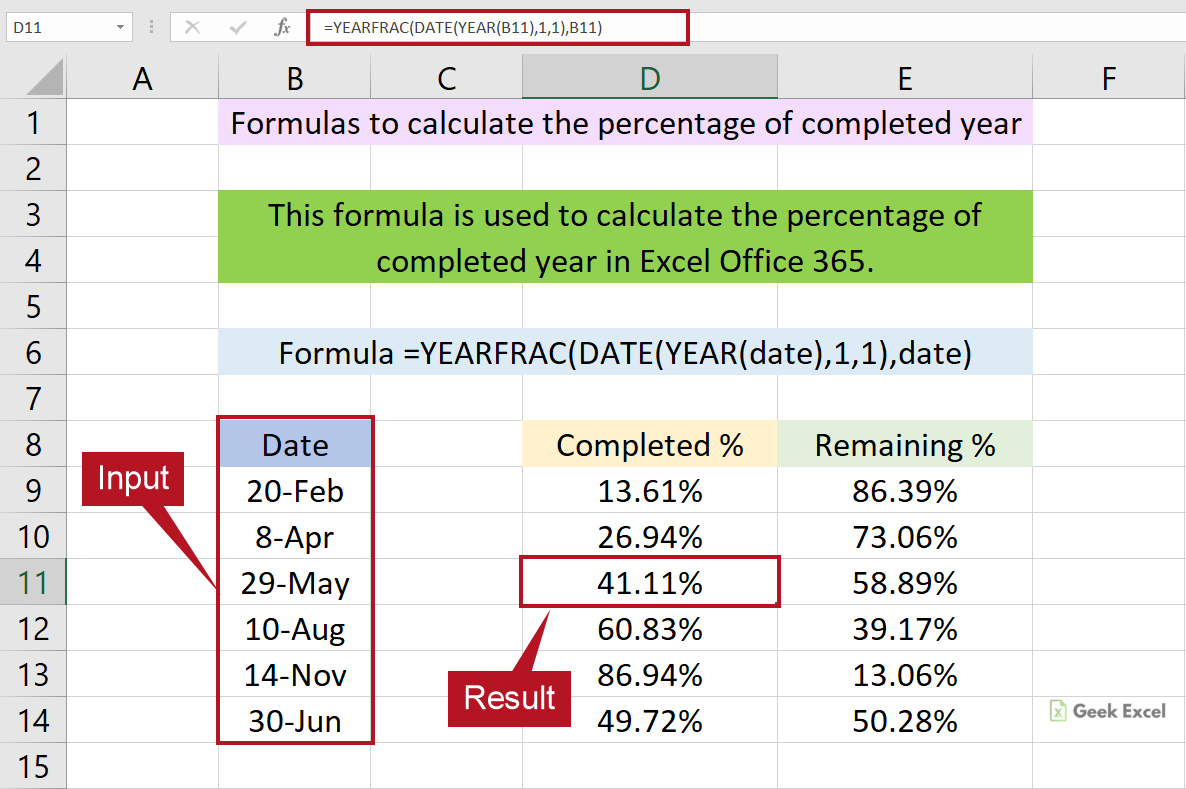 Excel Formulas to Calculate the Percentage of Completed Year ...