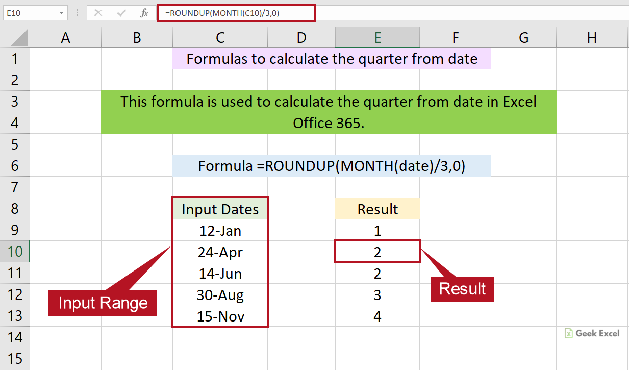 Excel Formulas to Calculate the Quarter from the Given Date ~ Easy ...