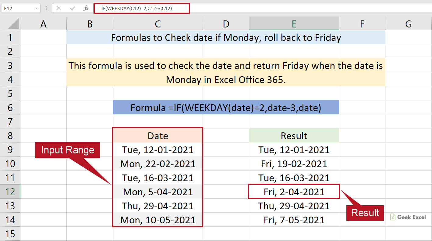 Excel Formulas to Check Date and Roll Back to Friday If Day is ...