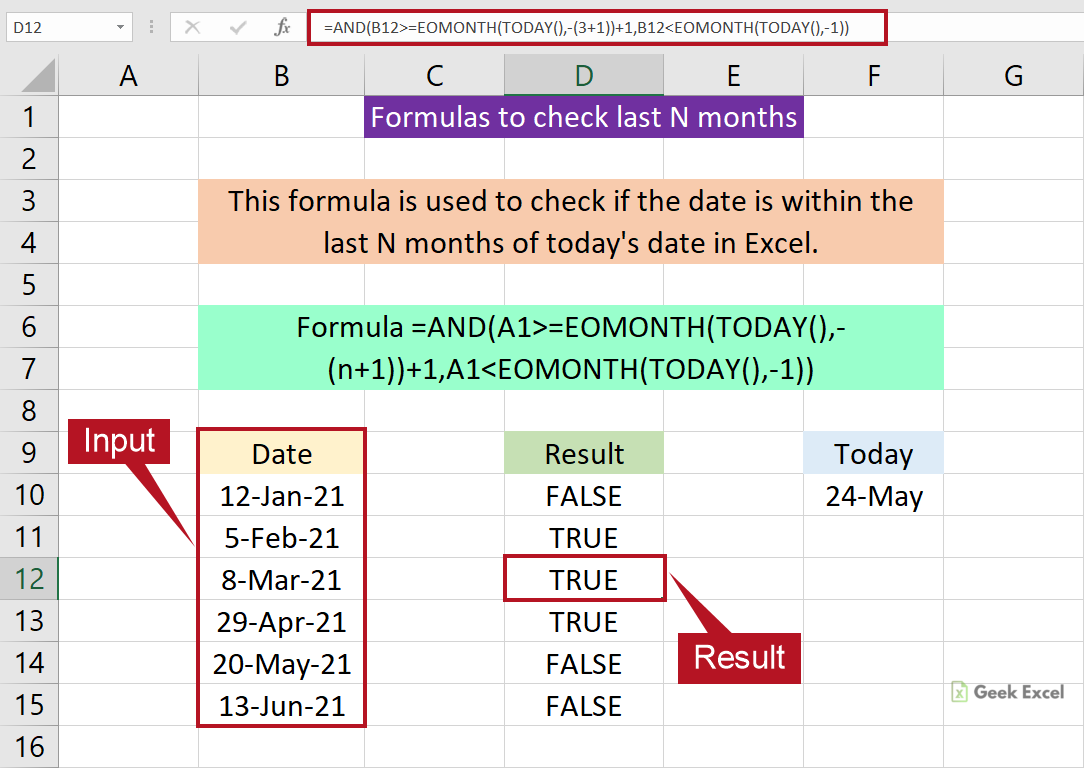 Excel Formulas Check the Date is within a Last N months from Today