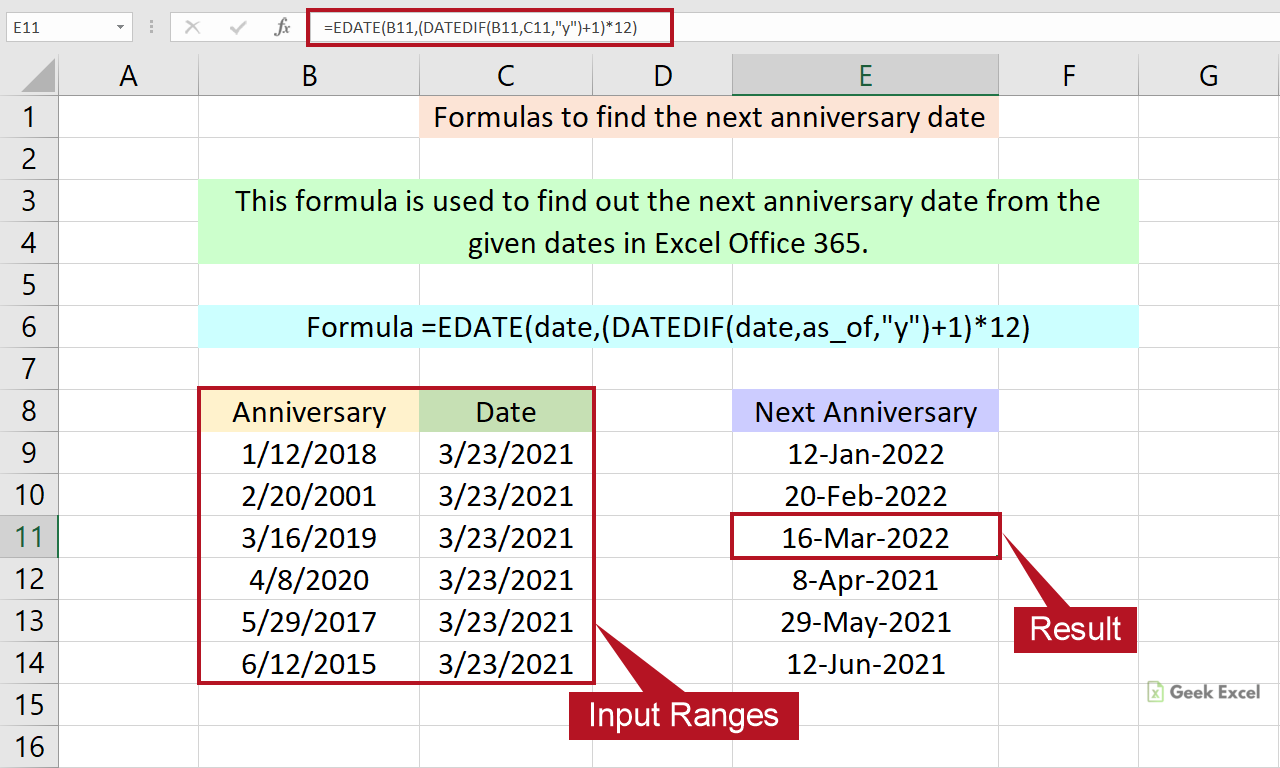 Excel Formulas to Find the Next Anniversary Date ~ Simple Tricks