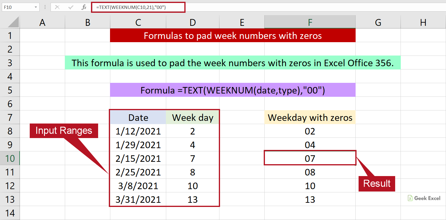 Excel Formulas to Pad Week Numbers with Zeros ~ A Simple Guide
