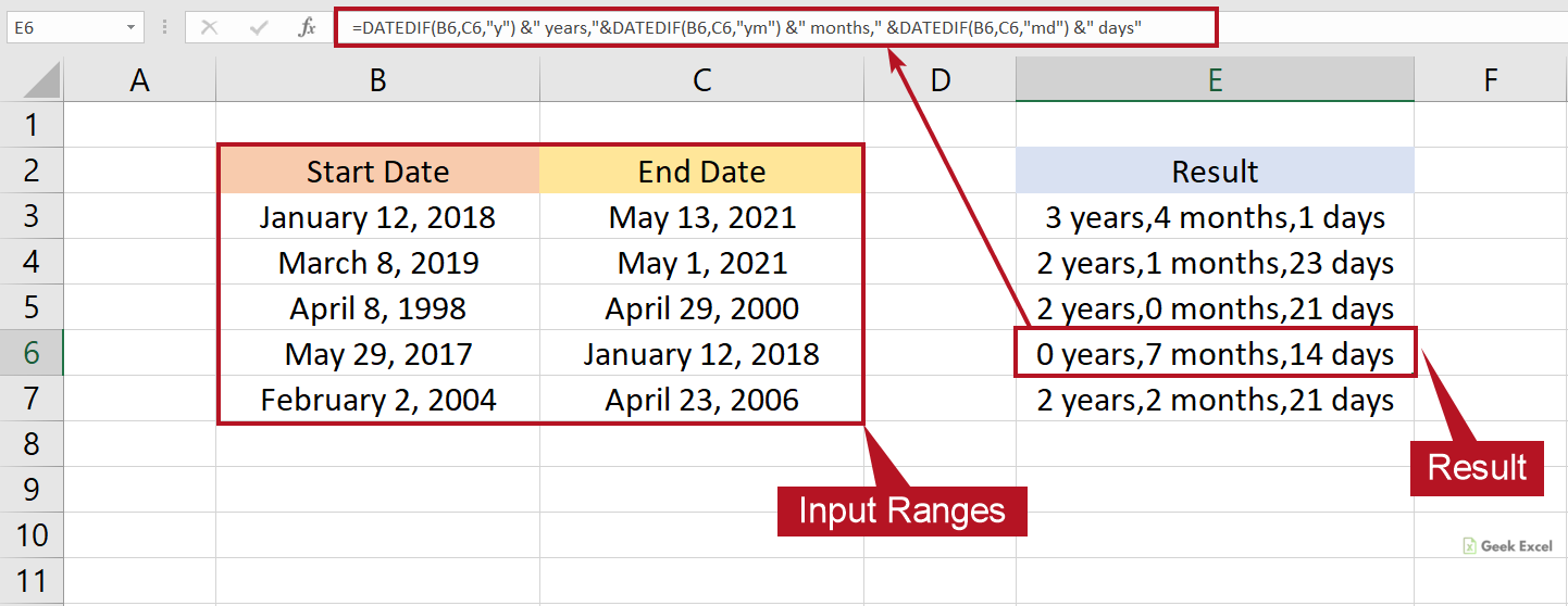 Excel Formulas to Calculate Days, Months & Years between Two Dates