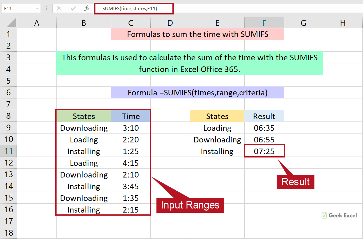 Excel Formulas to Calculate the Sum of the Time with SUMIFS Function