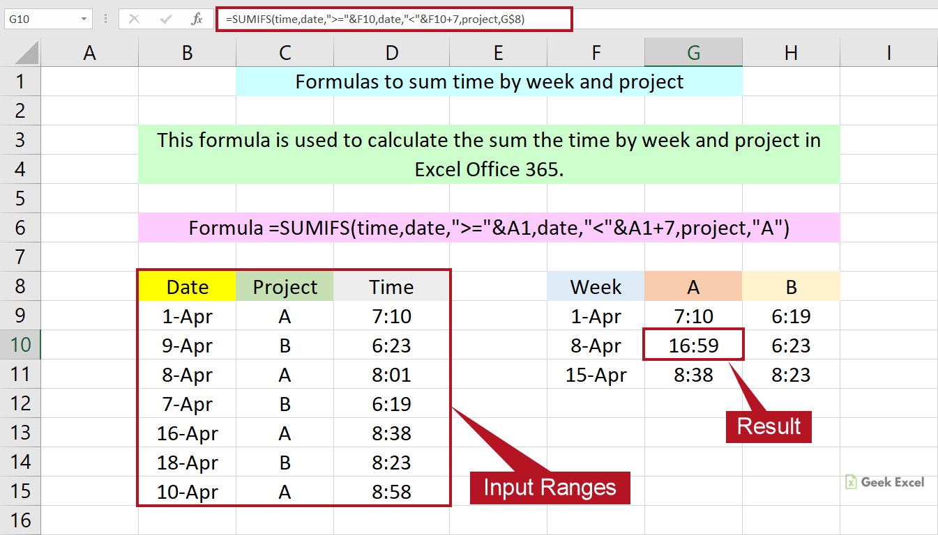 Excel Formulas to Sum the Time by Week and Project ~ Easy Tricks