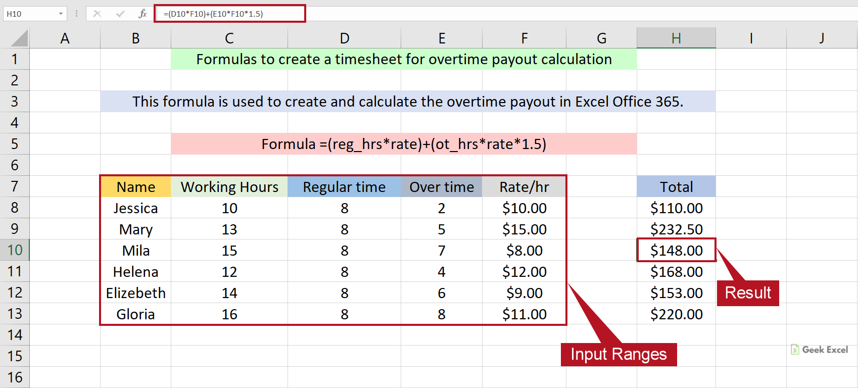 Excel Formulas to Create a Timesheet for Overtime Calculation ...