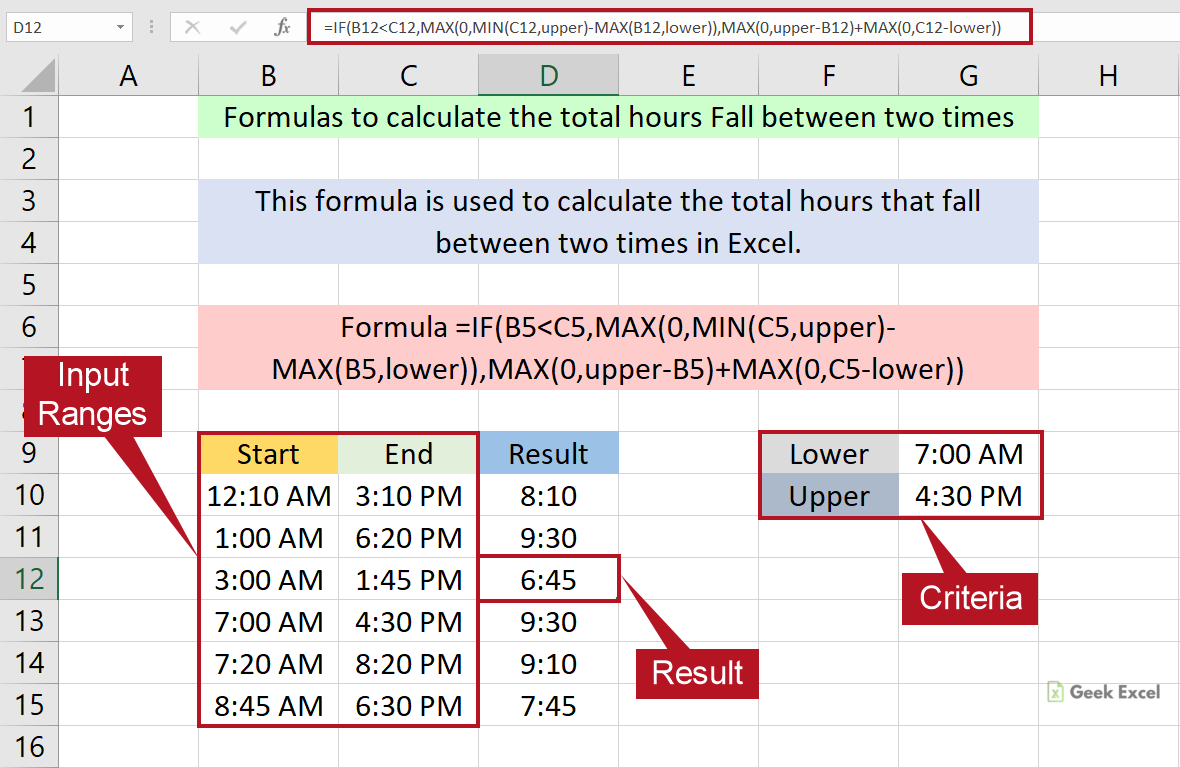 Excel Formulas to Calculate Total Hours that Fall Between Two Times