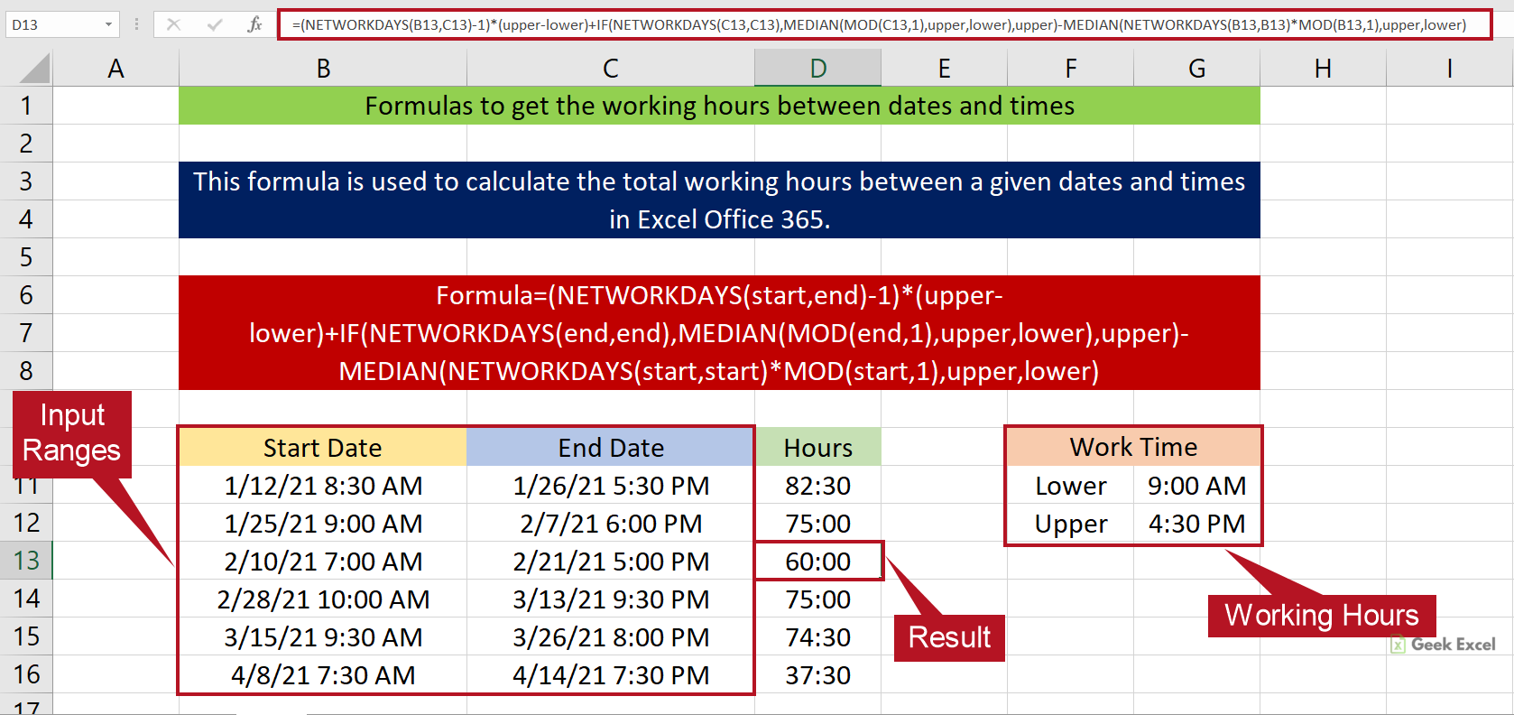 Excel Formulas to Calculate the Work Hours between Dates and Times