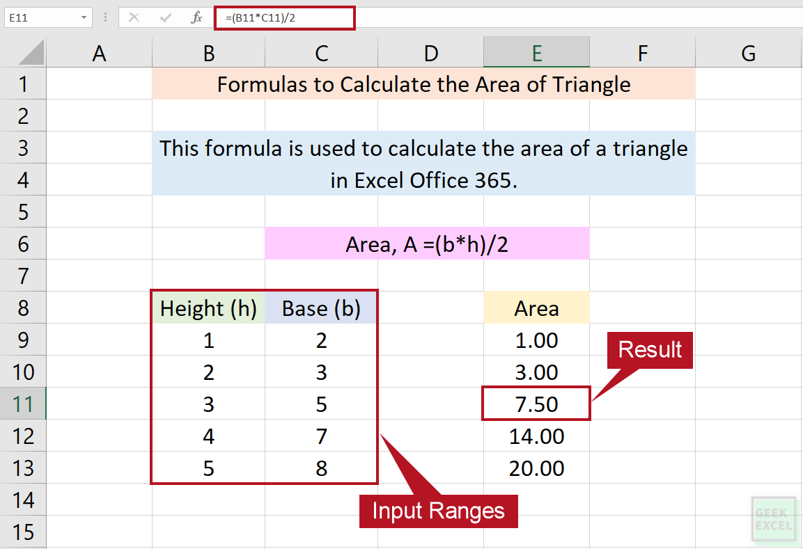 Excel Formulas to Calculate the Area of a Triangle ~ Useful Tips