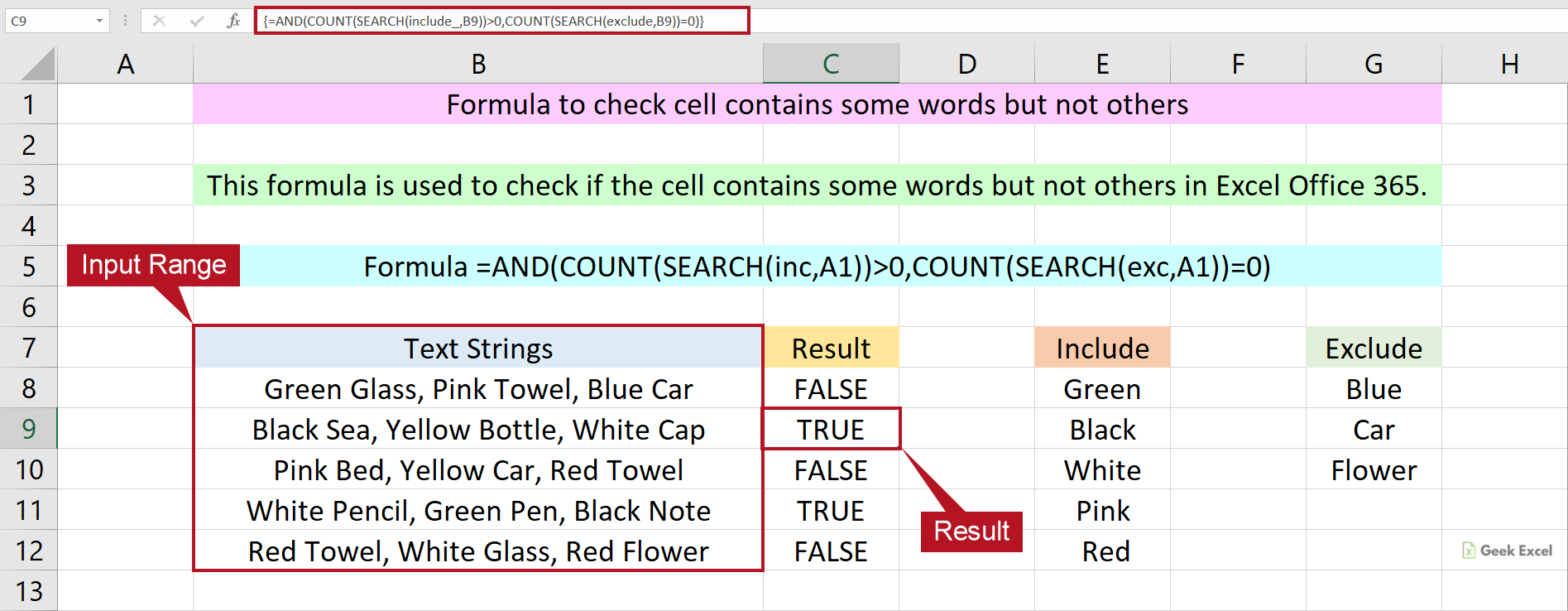 Excel Formulas Check the Cell Contains Some Words but Not Others