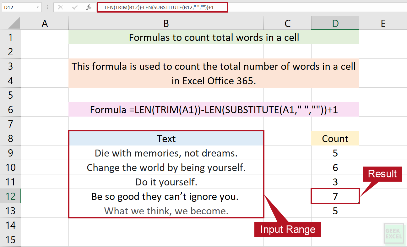 Excel Formulas to Count Total Words in a Cell ~ Easy Guide