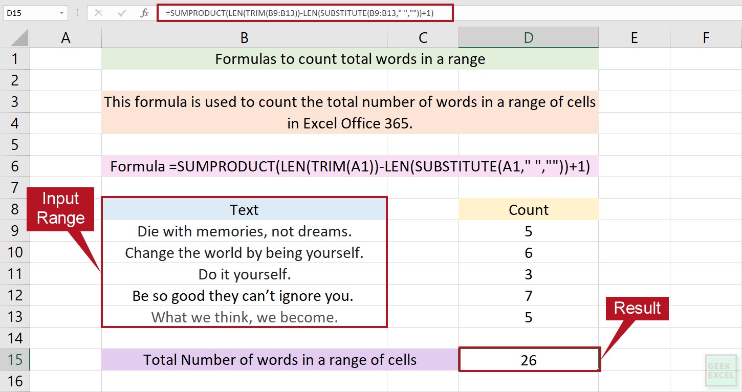 Excel Formulas to Count Total Words in a Range ~ Useful Tips