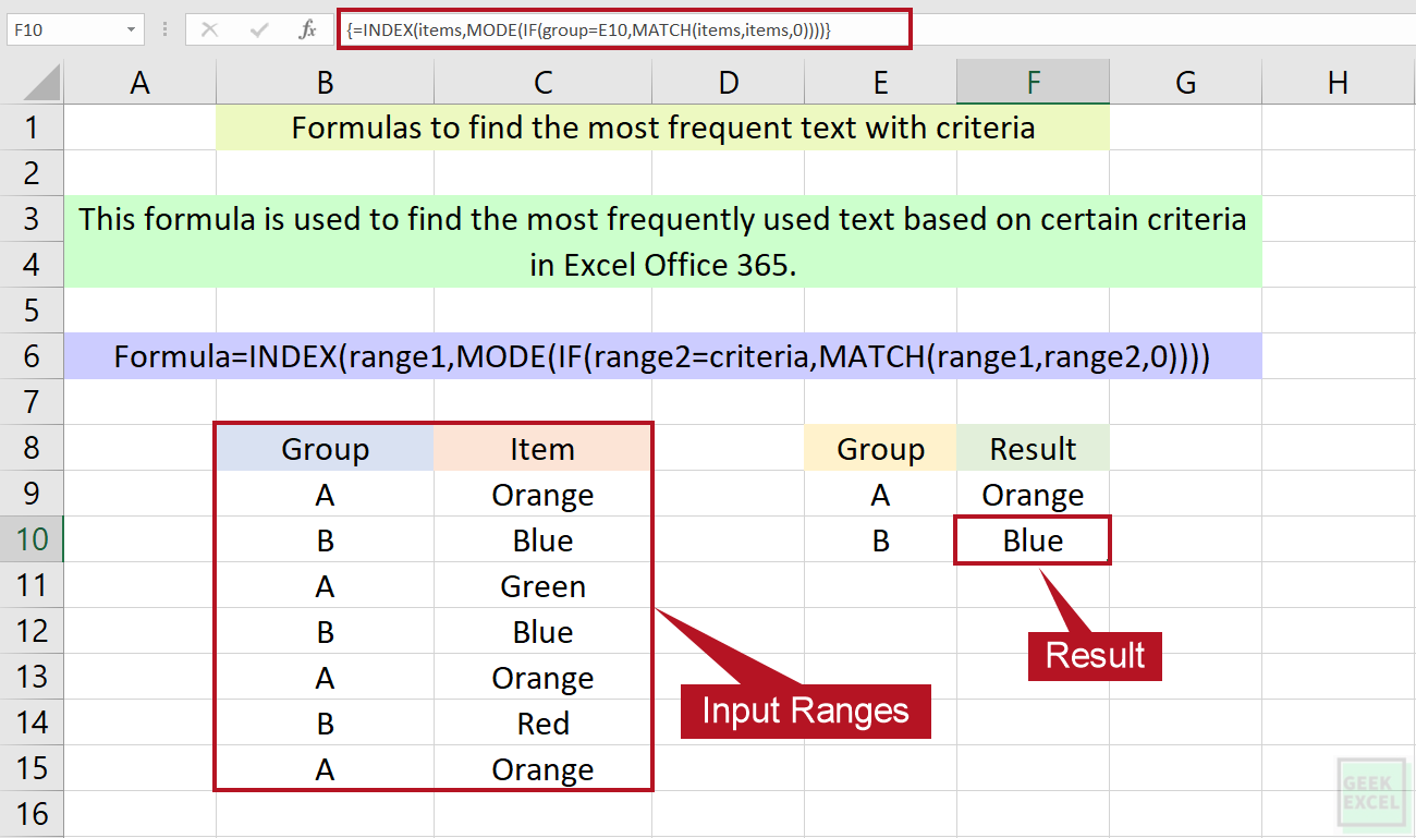 Excel Formulas to Find the Most Frequent Text with Criteria