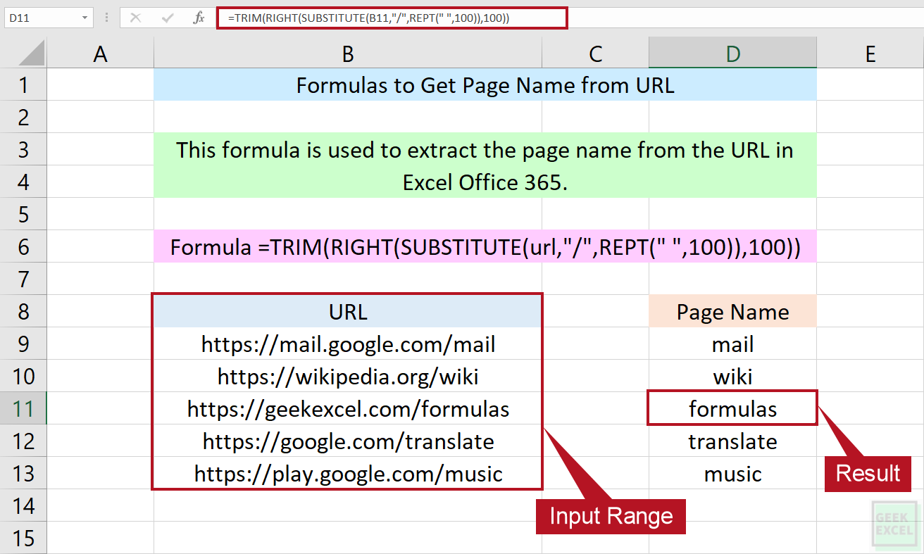 Excel Formulas to Get Page Name from URL ~ Simple Tutorial