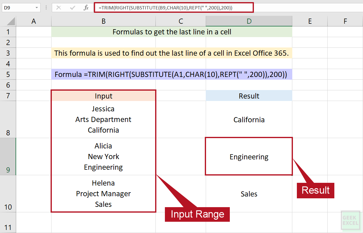 Excel Formulas to Get the Last Line in a Cell ~ A Complete Guide