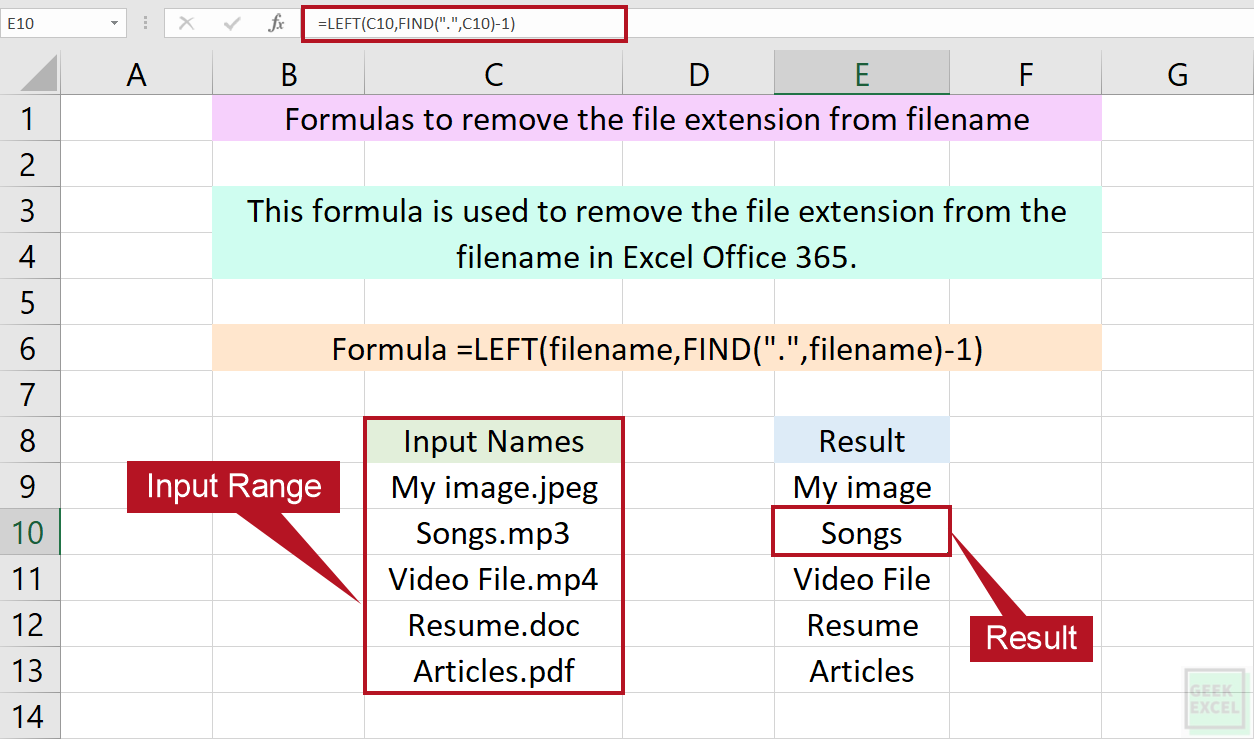 Excel Formulas to Remove File Extension from Filename ~ Simple ...