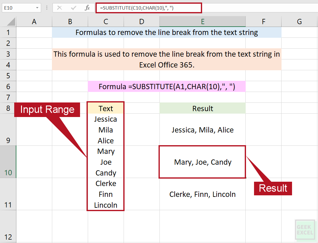 Excel Formulas to Remove the Line Breaks Between Two Text Strings