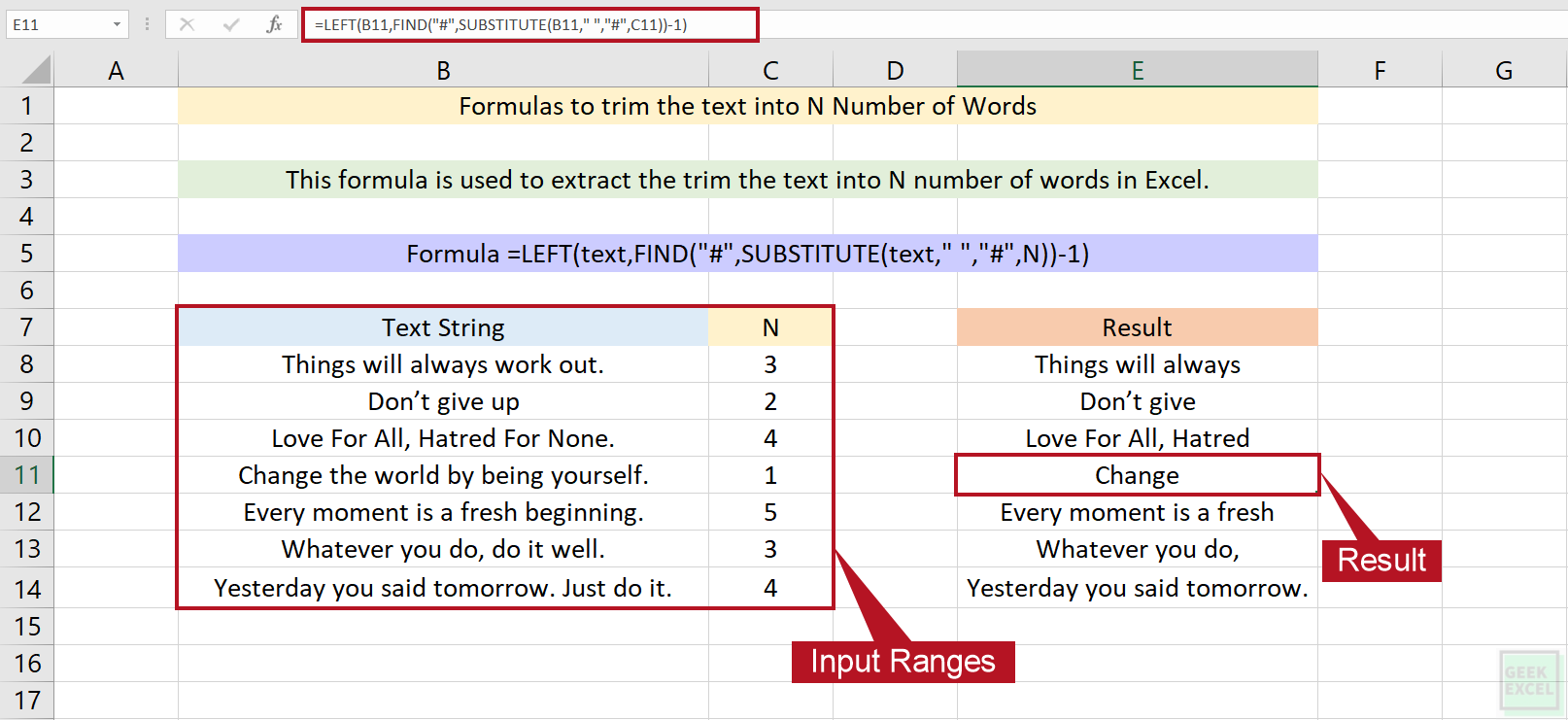 Excel Formulas to Trim the Text into N Number of Words ~ Simple ...