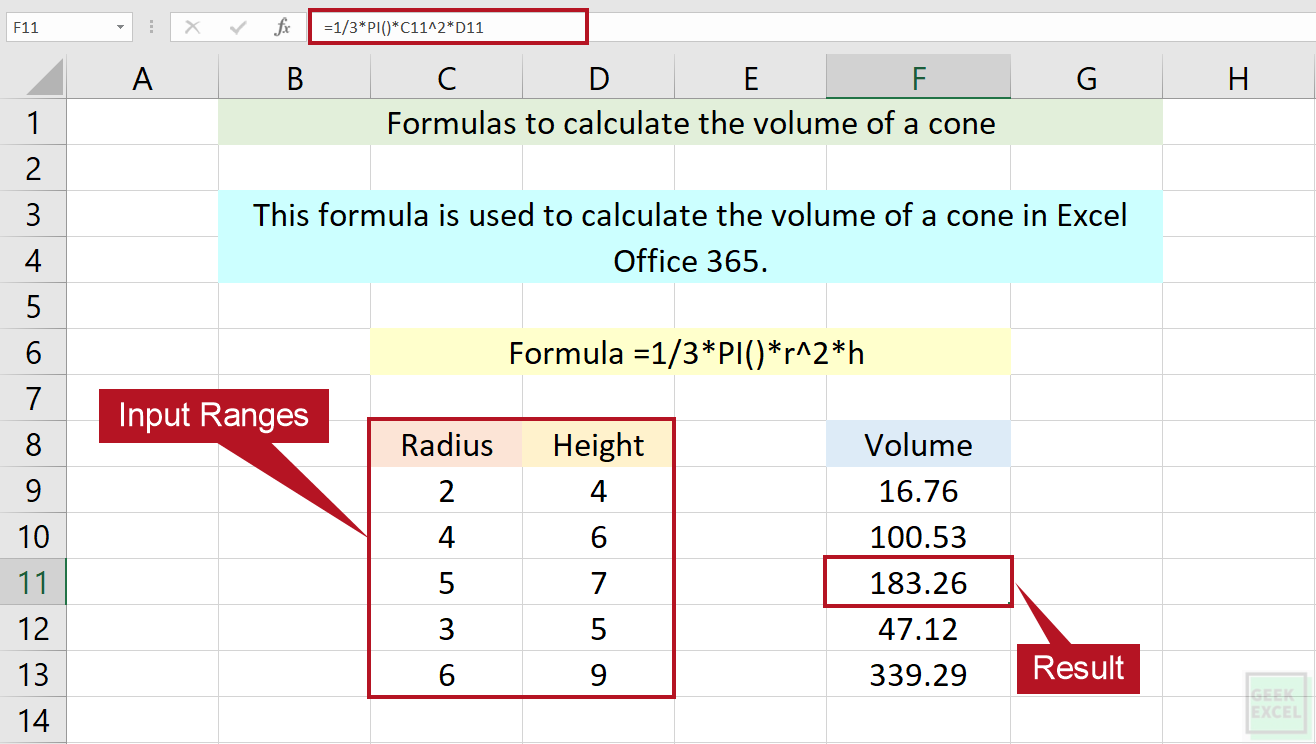 Excel Formulas to Calculate the Volume of a Cone ~ Quick Method