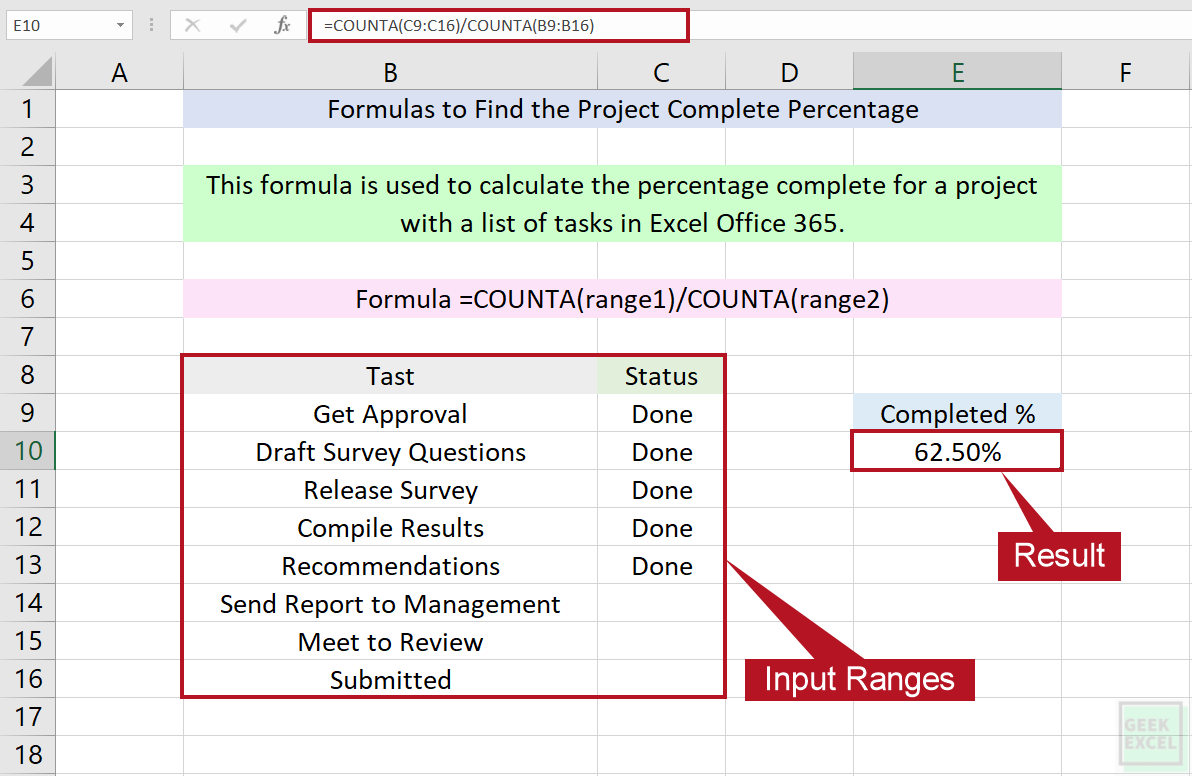 Excel Formulas to Calculate the Percentage Complete for Project