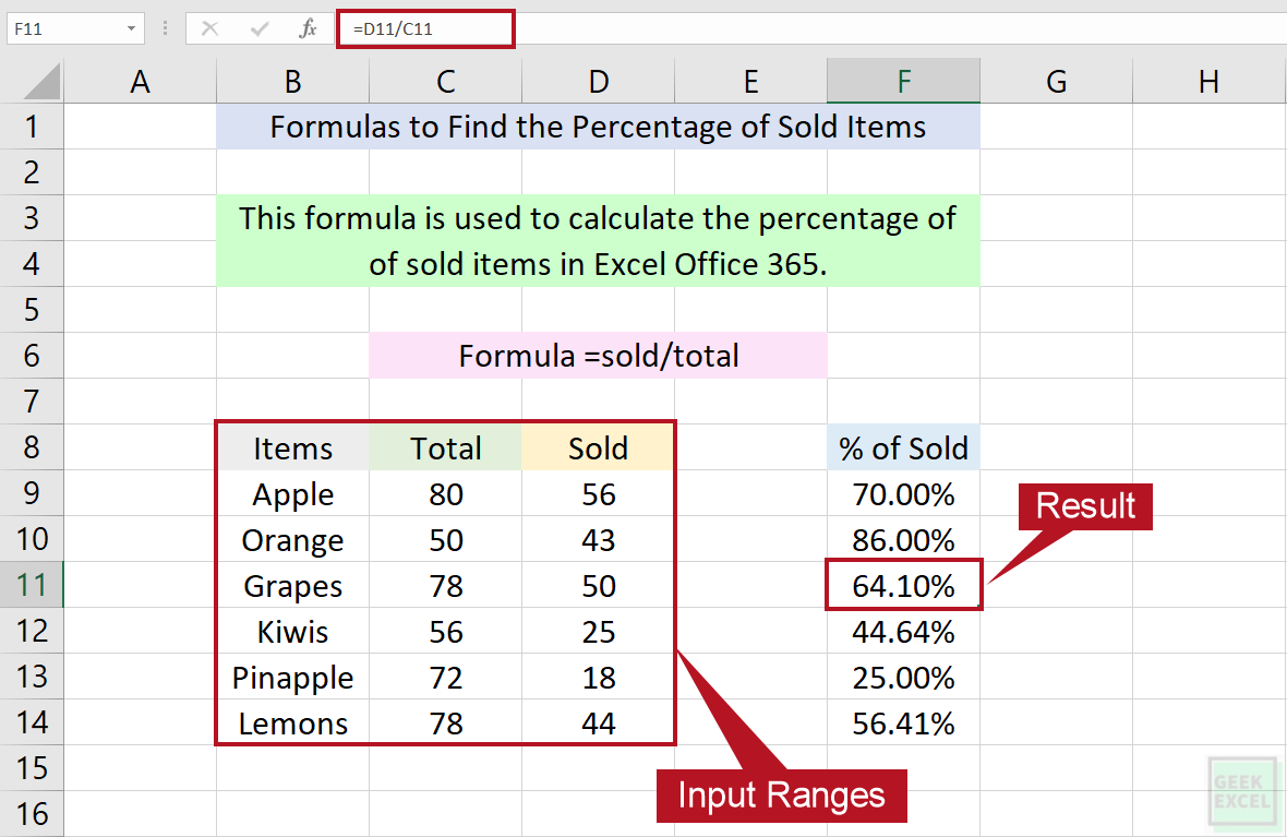 Excel Formulas to Calculate the Percentage of Sold Items ~ Quick ...