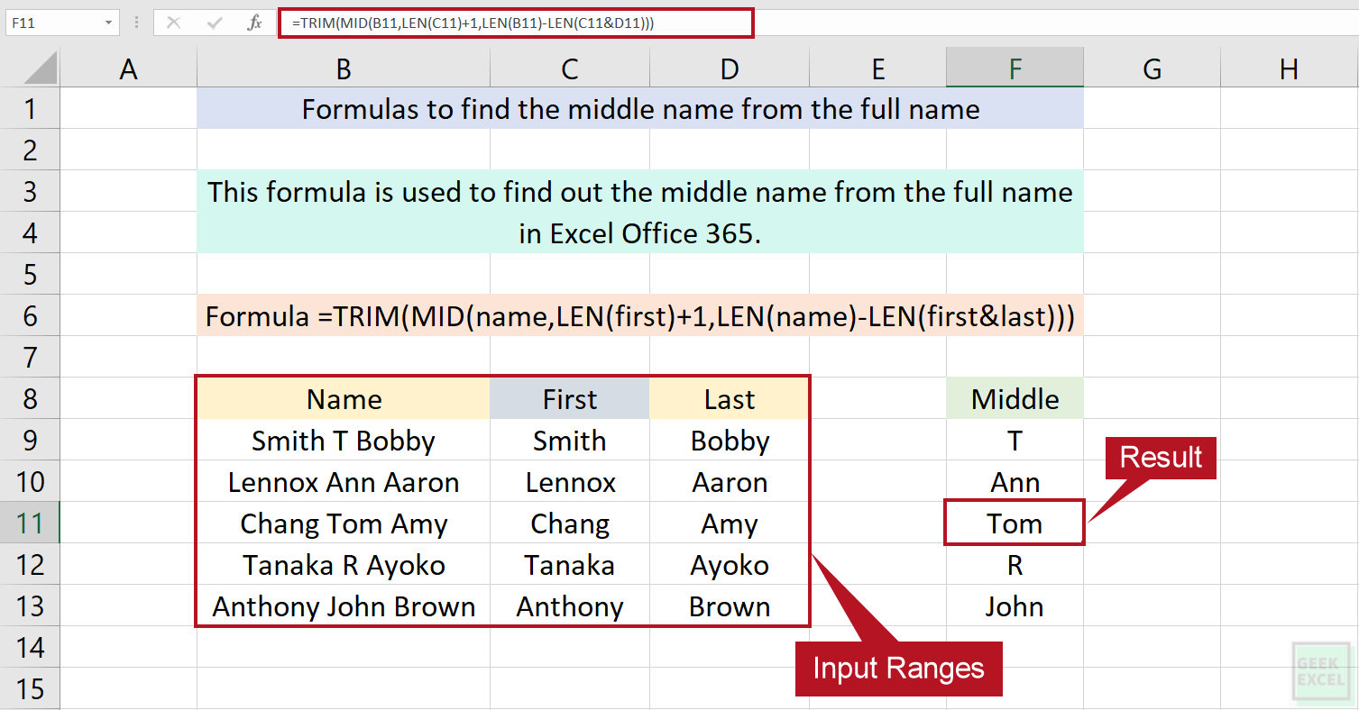 Excel Formulas to Find the Middle Name from Full Name ~ Easily