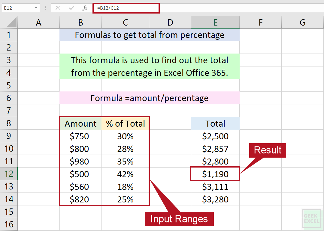 Excel Formulas to Get the Total From the Percentage ~ Easy Tips