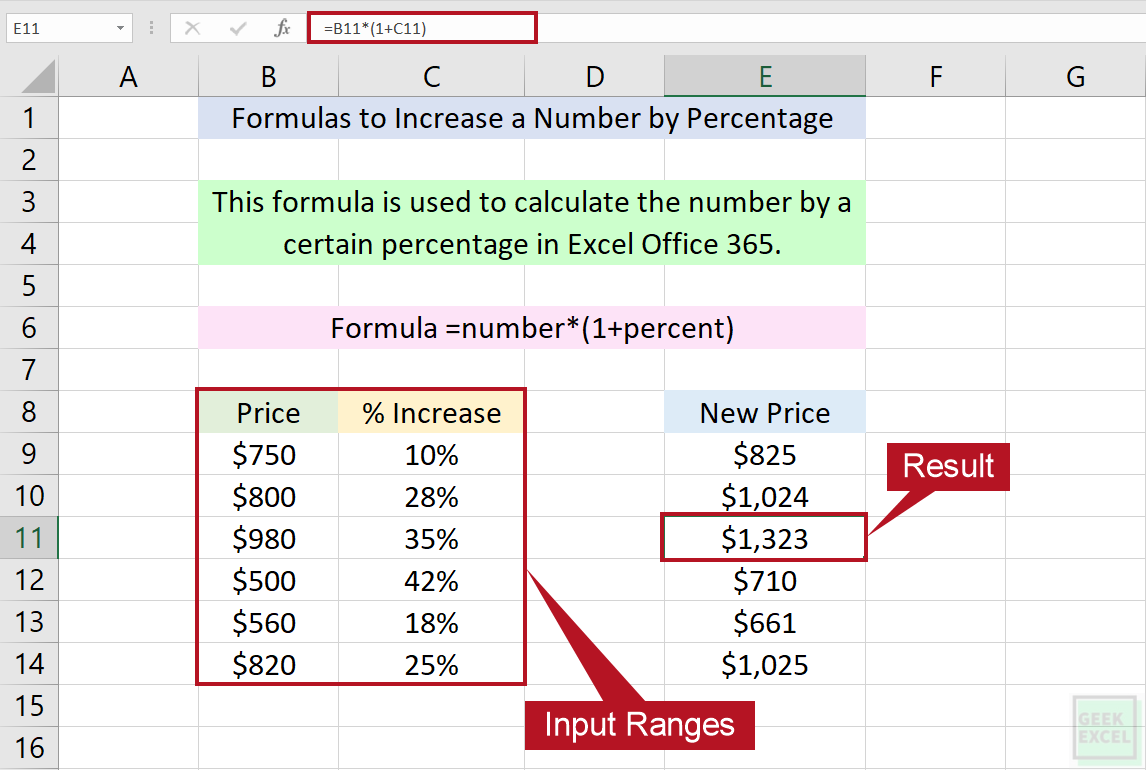 Excel Formulas to Increase a Number by a Certain Percentage ...